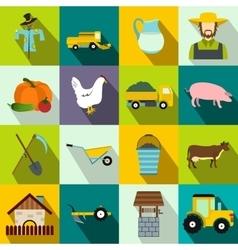 Farm flat icons set vector image vector image