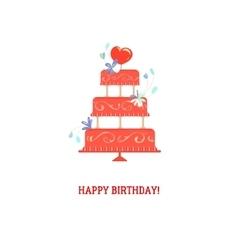 Floral birthday cake vector