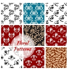 Floral seamless patterns set flowery background vector