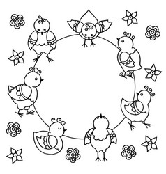 Frame with abstract funny chickens birds coloring vector