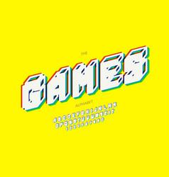 Games alphabet 3d bold style vector
