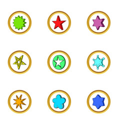 Geometric star icons set cartoon style vector