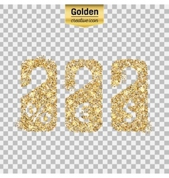 Gold glitter icon of price tag isolated on vector