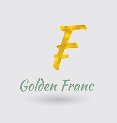 Golden Franc Symbol vector image