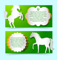 green banners set with jumping white horse vector image