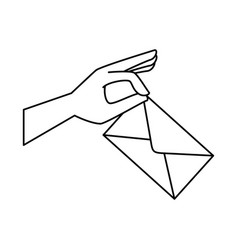 hand with envelope mail vector image