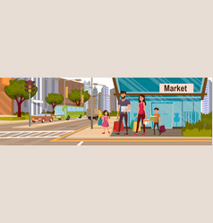 Happy family walking after shopping into the store vector