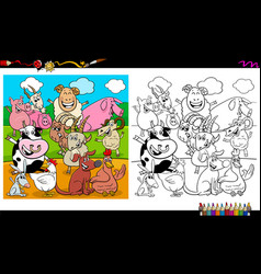 happy farm animal characters group coloring book vector image