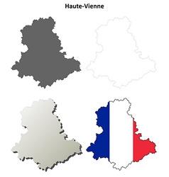 Haute-vienne limousin outline map set vector