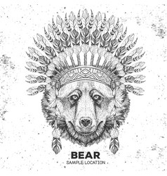 hipster animal bear with indian feather headdress vector image