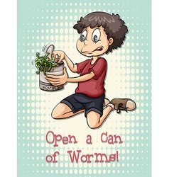Idiom open a can of worms vector