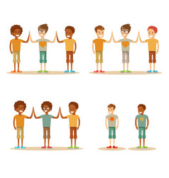 Kids high five vector