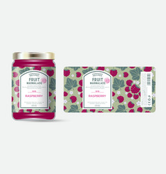 label packaging jar marmalade pattern raspberry vector image