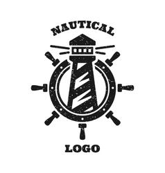 Lighthouse and a steering wheel logo vector