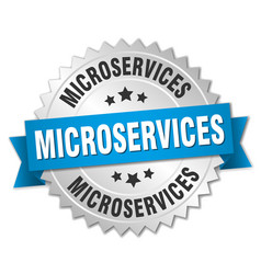 microservices round isolated silver badge vector image