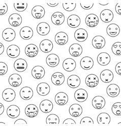 Outline round smile emoji seamless pattern vector image