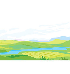 Panorama of hills with small river vector