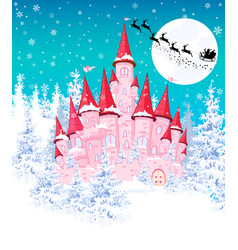 Pink castle in the winter forest 1 vector