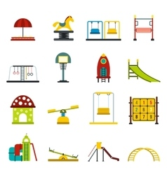 Playground flat icons set vector