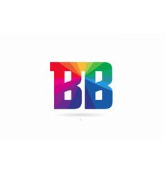 Rainbow colored alphabet combination letter bb b vector