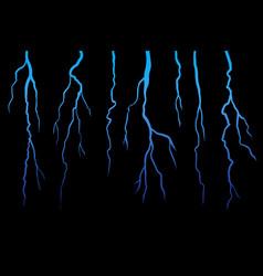 Realistick lightning set on dark black background vector