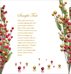 Red and gold berries background vector image