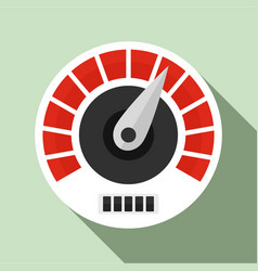red white speedometer icon flat style vector image