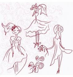 romantic brides vector image