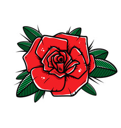 Rose flower in tattoo style isolated on white vector
