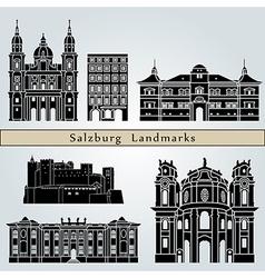Salzburg landmarks and monuments vector