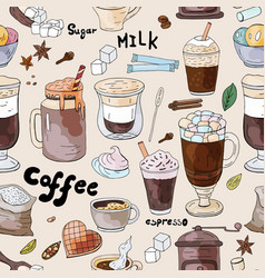 seamless coffee pattern doodle coffee collection vector image