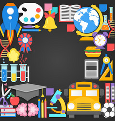 seamless pattern with different school supplies on vector image