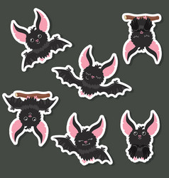 set of cartoon bats set of cartoon bats vector image