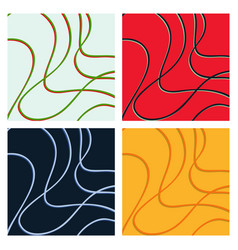 set of color hand-drawing wave sea background vector image