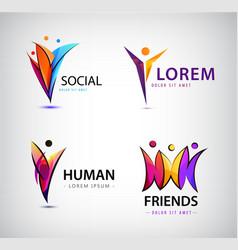 Set of human logos men group leader vector