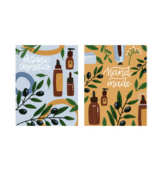 set olive natural cosmetic vertical banners vector image