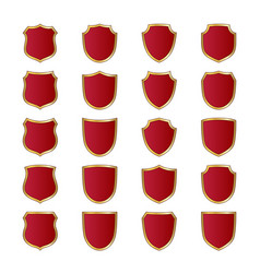 Shield gold red icons set shape emblem vector