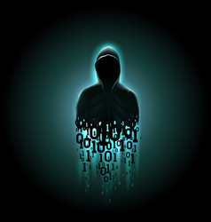 silhouette a hacker in a hood with binary code vector image