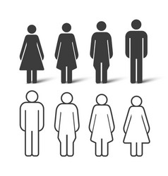 Silhouette and outline people set people icons vector