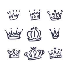 Sketch crown simple crowns hand drawn vector