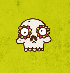 Skull with Floral Element Cartoon vector