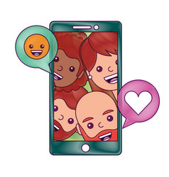 smartphone people talking love and smile emoticon vector image