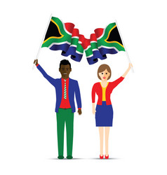 South africa flag waving man and woman vector