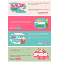 Spring sale webpage with flowers plants vector