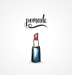 Stylish colored hipster fashion lipstick handmade vector image
