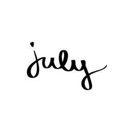 summer month july word black on white background vector image
