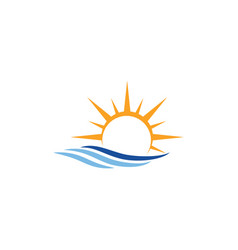 sun wave icon design template isolated vector image
