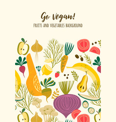 template with vegetables and fruit vegan vector image