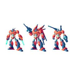 transformer battle robots cartoon set vector image