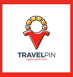travel sun men place - sunny pin vector image